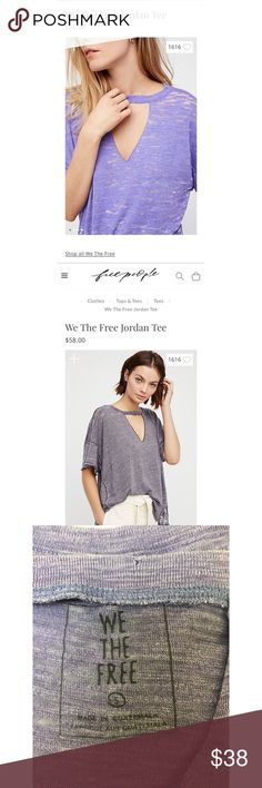 We The Free Jordan Tee (TOP RATED) Beautiful purple soft oversized distressed tee.  Best seller, still available on free people website. Brand New Condition, only worn once! Free People Tops Tees - Short Sleeve