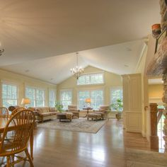 Cottage Open Plan Living Dining Design Ideas, Pictures, Remodel and Decor