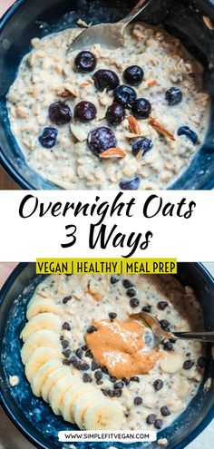 Meal prep your breakfast once by making overnight oats in a jar with three different toppings! It's a healthy, clean, and easy way to make breakfast! Vegan Recipes Plant Based, Best Vegan Recipes, Clean Recipes, Vegan Snacks, Snack Recipes, Vegetarian Desserts, Dinner Recipes, Low Carb Vegan Breakfast, 10 Min Meals