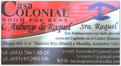 Tarjeta de visita de Raquel. Event Ticket, Home, Havana