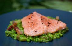 Confit of wild salmon with peas à la Française - Tom Kitchin -  http://www.greatbritishchefs.com/recipes/confit-of-salmon-recipe#sthash.TmvZaxVl.dpuf