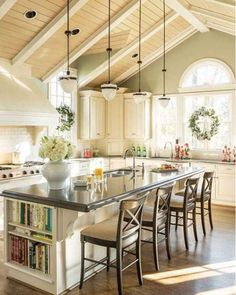 Bright Kitchen with Island and Stools