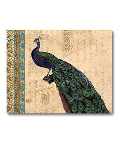 Take a look at this Peacock Tan Tapestry I Canvas Wall Art by COURTSIDE MARKET on #zulily today!