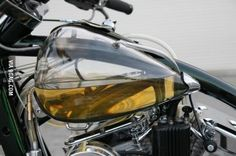 A fuel tank for a motorbike made out of glass. The most accurate fuel gauge in the world, our eyes!