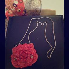 Brighton Roselie Shine Clutch/Crossbody How adorable is this!! Bright pink flower.. Can be used as Crossbody or Clutch. Has pockets on inside for cards.. Like new! A must have for nights out Brighton Bags Crossbody Bags