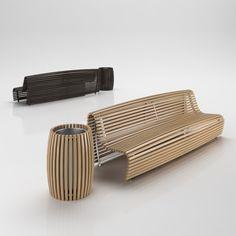 B&B Italia | Titikaka - wooden bench with matched trash | by Naoto Fukasawa