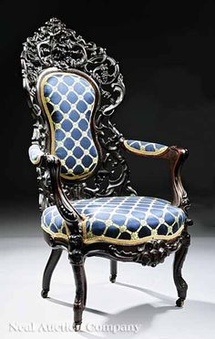 An American Rococo Carved and Laminated Rosewood Lady's Armchair, mid-19th c., New York City