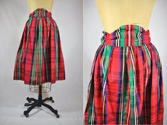 vintage plaid skirt 1980s red holiday high waist S