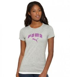 Camiseta Puma Women's 828700-06 Heathered Arch Logo TShirt Athletic Gray Heather #Puma#Camiseta