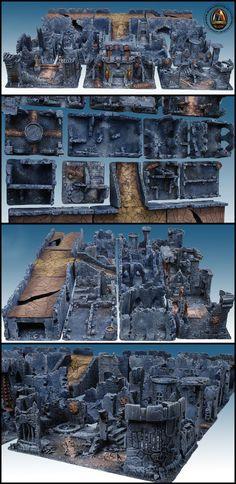 TOWN RUINS - 120cmx120cm MODULAR BATTLE TABLE (SET OF 15 TERRAINS)