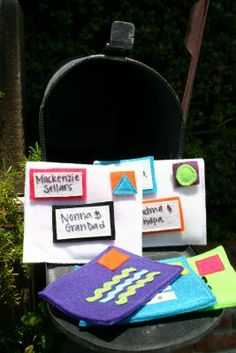 "felt mail... I like the idea to add velcro so they can ""stamp"""