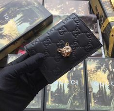 Buy Safely a Gucci Signature Card Case with Cat Black at cheap price- USD Free Global Shipping. Designer Bags On Sale, Discount Designer Handbags, Most Expensive Handbags, Luxury Handbag Brands, Popular Bags, How To Make Handbags, Cheap Bags, Small Leather Goods, Luxury Handbags