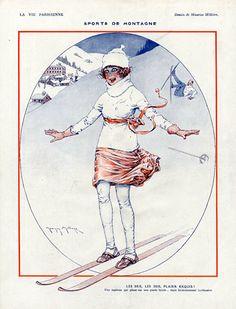 Maurice Millière 1921 Sports de Montagne, Ski Source  La Vie Parisienne Illustrator   Maurice Millière