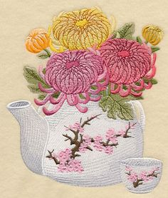 Chrysanthemums in Japanese Teapot