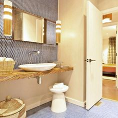 You've Got To See This: 30 Small Bathrooms That Are BIG In Style: Enliven Your Small Bathroom With Round Tiles