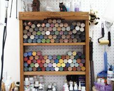 Storing Acrylic Craft Paint - craft room idea