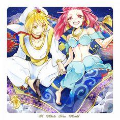 Magi - Alibaba and Morgiana : Crossover with Disney Aladdin Anime Magi, Manga Anime, Shinshi Doumei Cross, Magi 3, Magi Judal, Hakuryuu Ren, Aladdin Magi, The Kingdom Of Magic