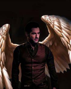 Always an angel at heart❤️ Series Movies, Tv Series, Lucifer Wings, Wings Wallpaper, Tom Ellis Lucifer, Lauren German, Dark Love, Hottest Guy Ever, Dark Pictures