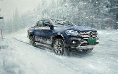 Download wallpapers Mercedes-Benz X-Class, 2018, blue SUV, pick-up, winter, snow, blue, riding on snow X-Class, Mercedes, 4k
