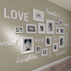 Family Wall Decor, Diy Wall Decor, Diy Home Decor, Art Decor, Hallway Wall Decor, Wall Letters Decor, Frames Decor, Family Wall Quotes, Bedroom Wall