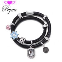 2016 Pryme Fashion Endless Charms Bracelets DIY Jewelry 39CM Leather Magnet…