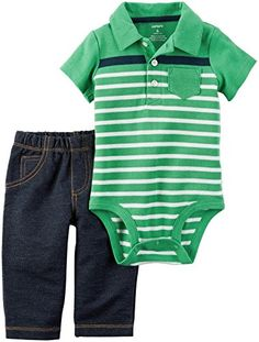 ee3ebde5dc Give your little boy casual style with this pants and bodysuit set by  Carter's.