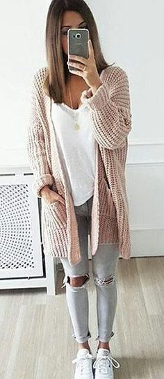 #winter #fashion /  Light Maxi Cardigan + White Top + Destroyed Skinny Jeans + White Sneakers