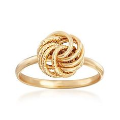 Italian 14kt Yellow Gold Textured and Polished Rosette Ring