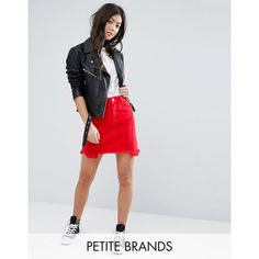 New Look Petite Raw Hem Denim Mini Skirt ($30) ❤ liked on Polyvore featuring skirts, mini skirts, petite, red, short red skirt, high waisted skirts, red high waisted skirt, red skirt and red denim skirt