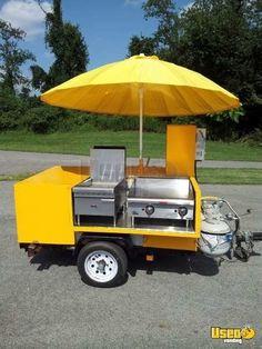 Ideas Food Truck Design Ideas Hot Dogs For 2019 Food Cart Design, Food Truck Design, Food Cart Business, Bbq Smoker Trailer, Mobile Food Cart, Bike Food, Korean Street Food, Korean Food, Hot Dog Cart