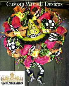 Whimsical The Witch Is In Halloween Wreath with Witch Legs on Etsy, $155.00