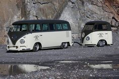VW Black and White bus and trailor