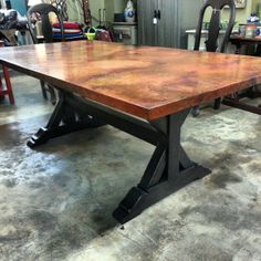 copper coppertoptable diningtable kitchentable trestletable custom order this table any size - Copper Kitchen Table