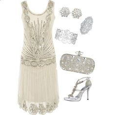 An outfit that Daisy Buchanan would wear to a party at Gatsby's