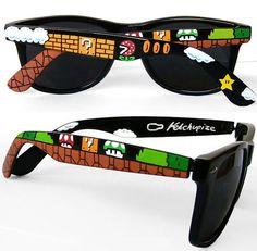 Óculos de sol customizado com o tema Super Mario