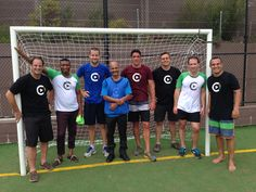The Sportstec team sporting View My Codes T-shirts after a tight futsal game. For the record the Internationals beat the Aussie team