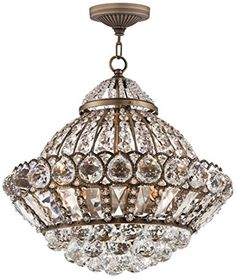 "Wallingford 16"" Wide Antique Brass and Crystal Chandelier - - Amazon.com"