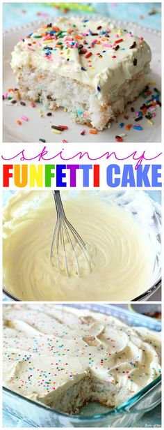 This Skinny Funfetti Cake is made with a cake mix and Greek yogurt, then topped with a light and fluffy whipped frosting! Each serving is less than 200 calories!