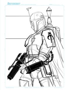 """Boba Fett """"Suave"""" Commish For Chaunce D. WIP Lines ruffy ________________________________________________ Sketchcraft - The podcast for art, d. Jango Fett Boba Fett, Boba Fett Mandalorian, Mandalorian Cosplay, Star Wars Pictures, Star Wars Images, Star Wars Bounty Hunter, Star Wars Drawings, Star Wars Tattoo, Star Wars Characters"""
