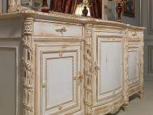 Classic luxury sideboard Luigi XVI style with mirror. Handmade carvings, white over gold finish. All White and Gold classic furniture collection