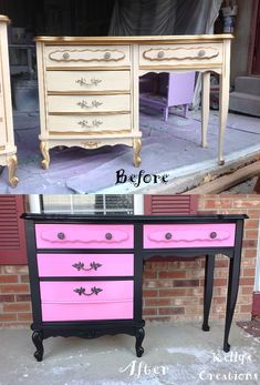 French Provincial desk painted black and hot pink before and after pictures. Refinished by Kelly's Creations. https://www.facebook.com/pages/Kellys-Creations-Refinished-Furniture/524028237619793?ref=hl