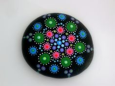 Mandala stones-dot art-painted rocks-spring gift ideas in pink and green hand painted by RockArtiste