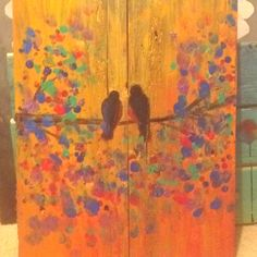 Upcycled art. Pallet wood canvas + acrylic paint.