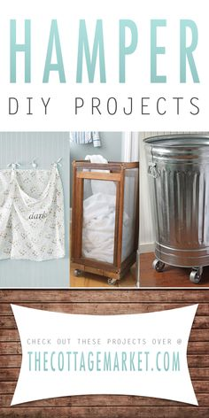 Hamper DIY Projects - The Cottage Market.if I were to make the trash can hamper I would drill holes all over it for airflow. Do It Yourself Furniture, Do It Yourself Projects, Do It Yourself Home, Diy Projects To Try, Home Projects, Diy Furniture, Craft Projects, Timmy Time, Laundry Hamper