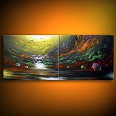 art painting landscape large lollipop tree art cloud  by mattsart, $375.00