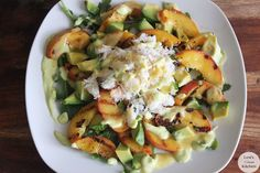 Grilled Peach, Avocado, and Crab Salad with Avocado & Peach Dressing | Lexiscleankitchen.com