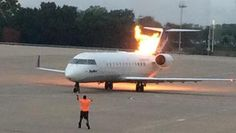 skywest The plane caught fire after the pilot turned on the engine. (Twitter: @thematt_miller)