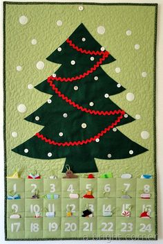 For toddler tree, add buttons...as an infant she can stick them on the felt tree, when she gets older she can hang them on the buttons! So cute! (This is an advent calendar, but adapt it for toddler tree.)