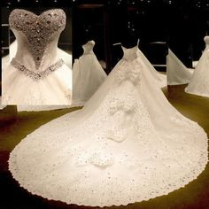New White/ivory Beading Lace Wedding Dresses Bridal Gown Ball Gown Size Custom