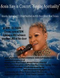 Sonia Aimy in Concert Singing Spirituality   Sep 27   BlackBird Jazz http://byblacks.com/events/event/1159-sonia-aimy-in-concert-singing-spirituality